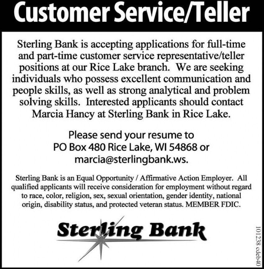 Customer Service / Teller, Sterling Bank - Rice Lake, Rice Lake, WI