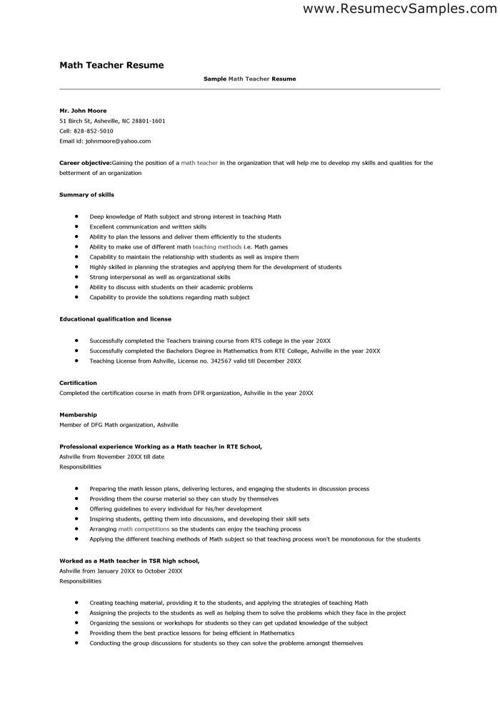 Resume Sample For Maths Teacher - Templates
