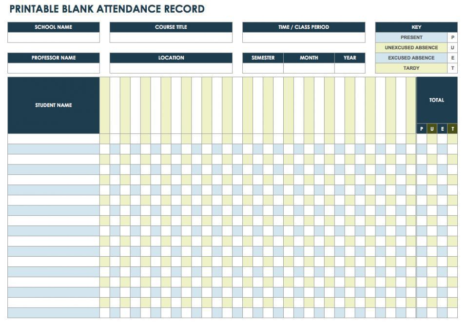 Free Attendance Spreadsheets and Templates | Smartsheet