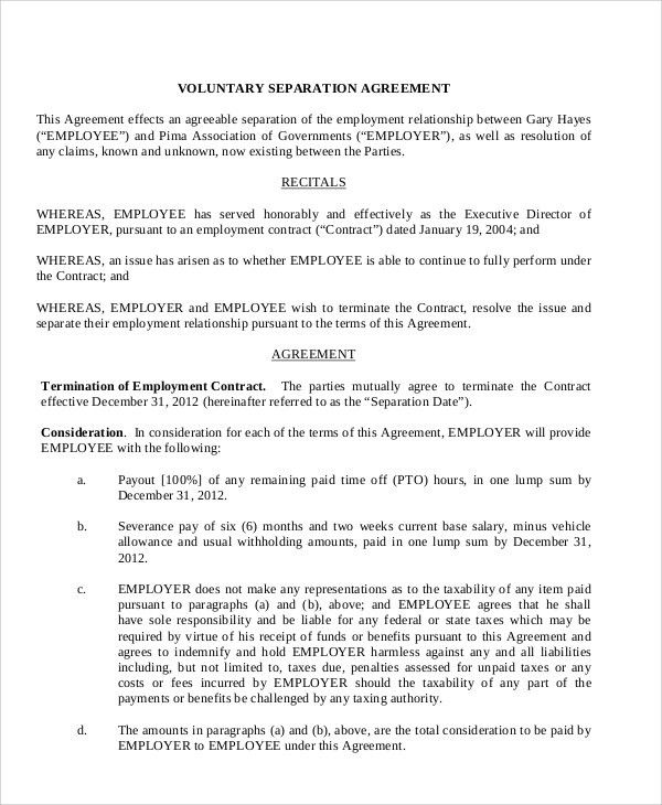 Sample Employment Separation Agreement - 7+ Documents in PDF, WORD