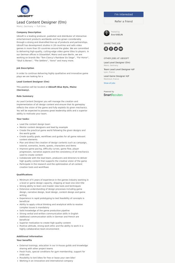 Lead Content Designer (f/m) job at Ubisoft in Mainz, Germany ...