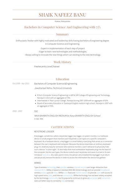 Entry Level Resume samples - VisualCV resume samples database