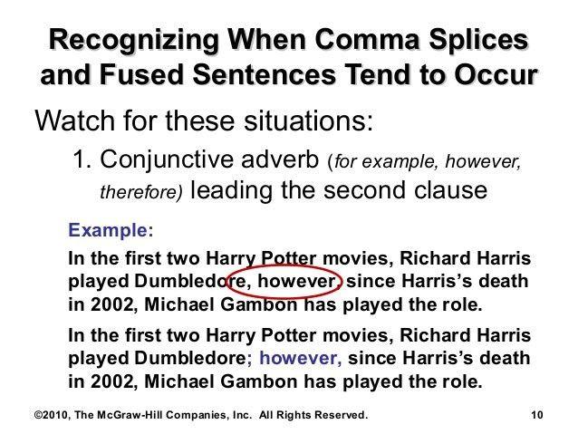 Comma Splices: Preslar's comp class