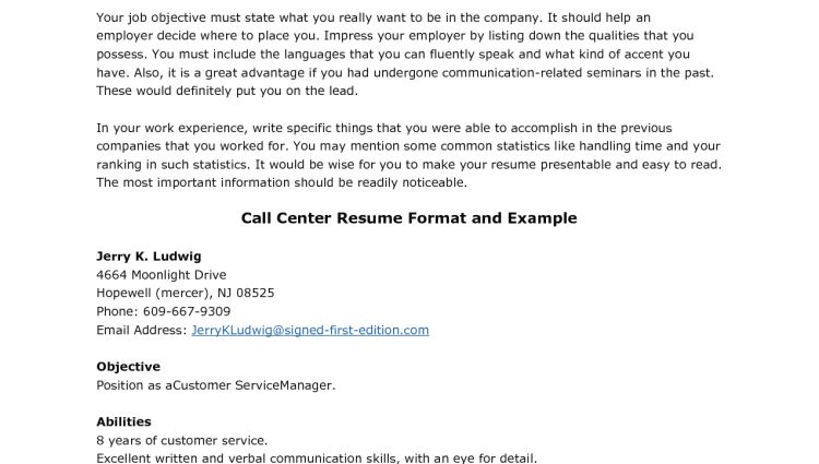 inbound call center resume format - Writing Resume Sample ...
