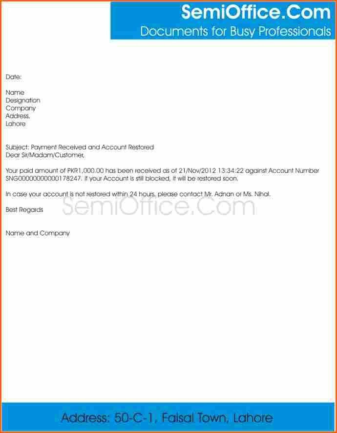 9+ payment received template - Budget Template Letter