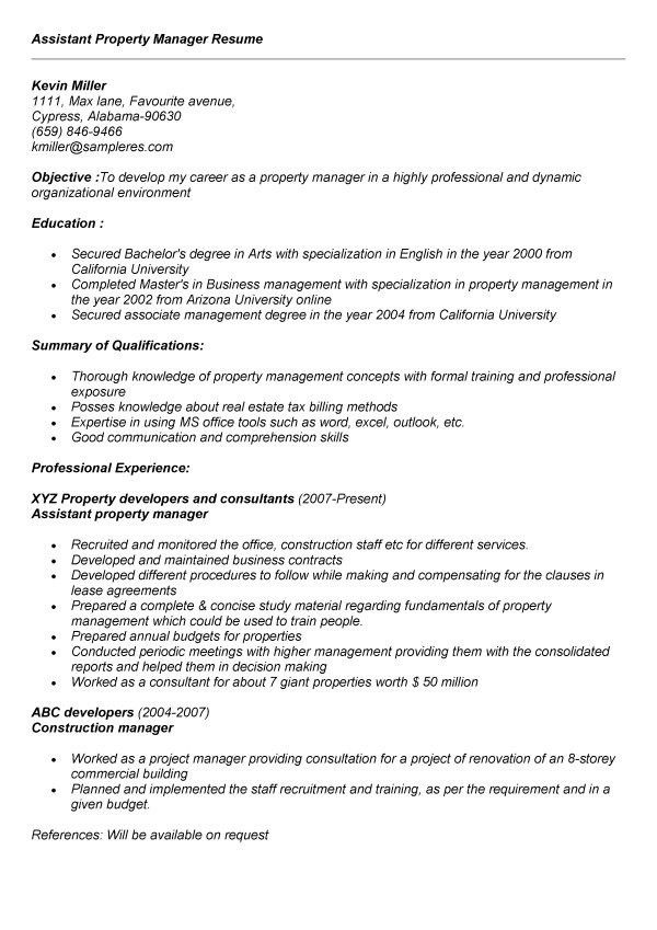 opulent design ideas property manager resume sample 7 assistant ...