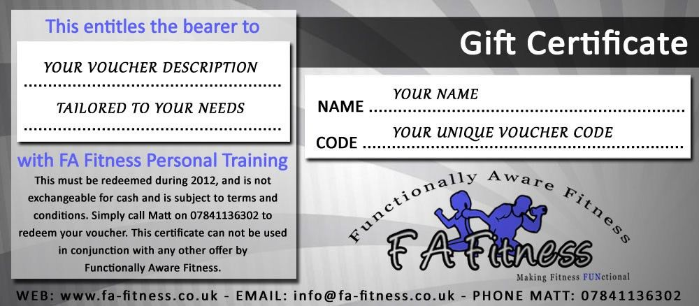 FA Fitness Personal Training - Gift Voucher | www.fa-fitness.co.uk