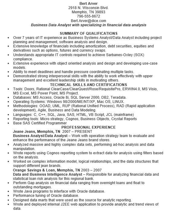 16 Free Sample Data Analyst Resumes – Sample Resumes 2016