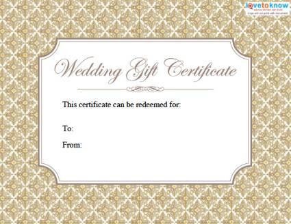 Printable Wedding Gift Certificates