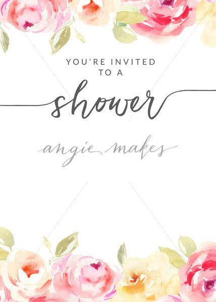 Watercolor Flower Shower Invitation Template With Hand Painted Flowers