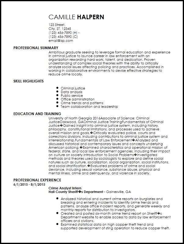 Free Entry-Level Law Enforcement Resume Template | ResumeNow