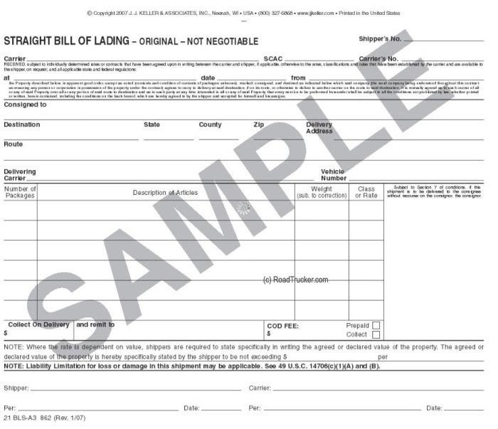 Carbonless Triplicate Straight Bill of Lading 862
