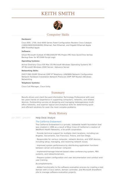 Help Desk Analyst Resume samples - VisualCV resume samples database