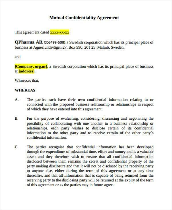 7+ Mutual Confidentiality Agreements - Free Sample, Example ...