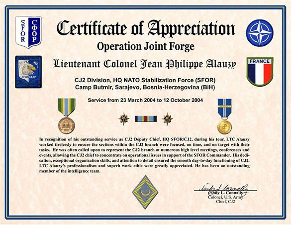Army certificate of appreciation template sample certificate of certificate of appreciation template 27 free word pdf yadclub Image collections