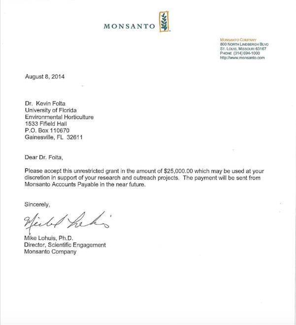 $25,000 Monsanto money letter to Kevin Folta emerges: Univ. of ...