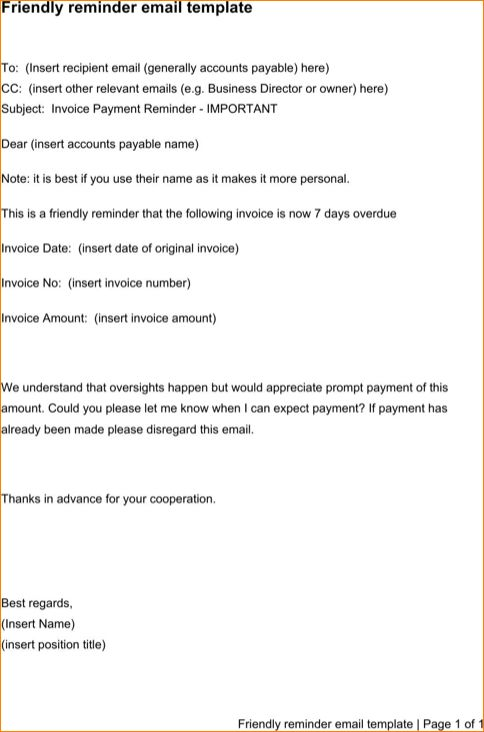 email reminder template