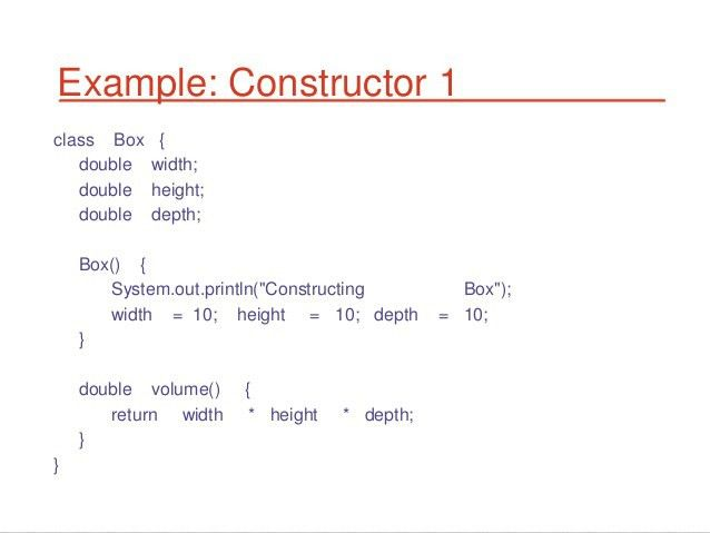 Class object method constructors in java