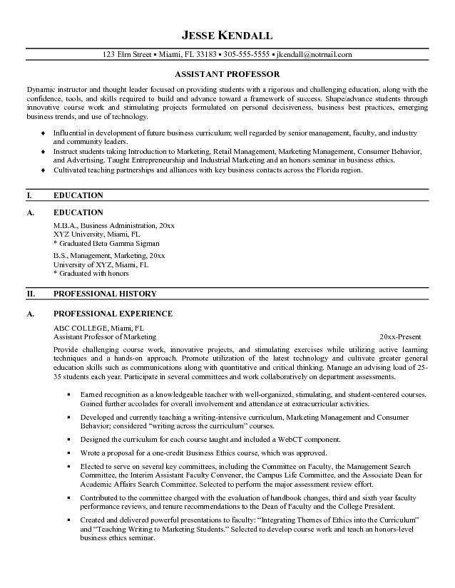 Sample Professor Resume - Gallery Creawizard.com