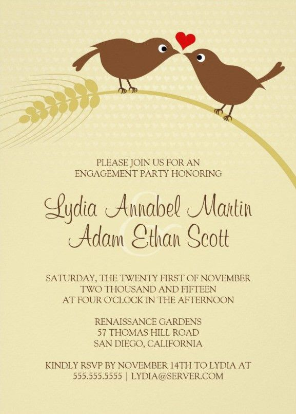 bird rustic engagement party invitations