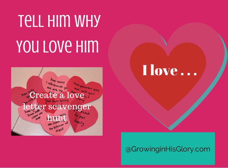 Love Letter Scavenger Hunt: Tell Him You Love Him + Free Hearts