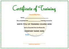 Microsoft Word Templates: Training Certificate Template