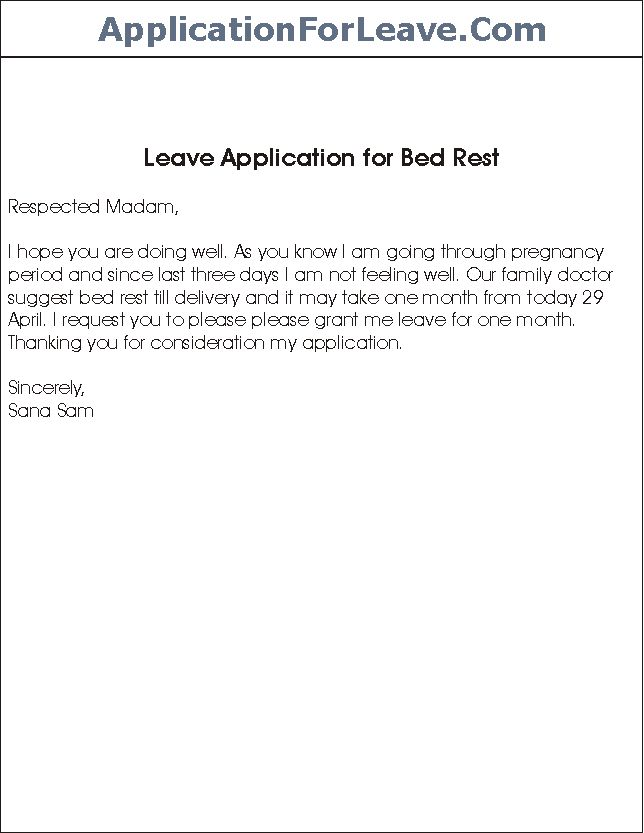 Sample Leave Application for Bed Rest