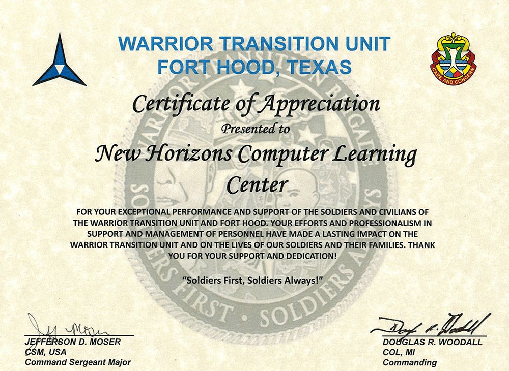 New Horizons of Killeen, TX Receives Certificate of Appreciation ...