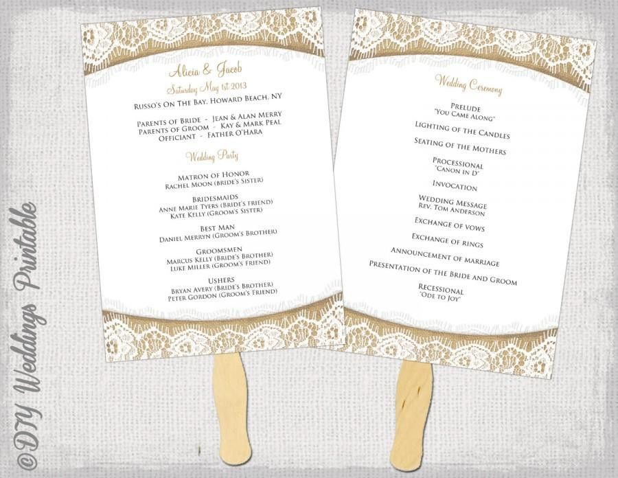 "Wedding Program Fan Template Rustic ""Burlap & Lace"" DIY Order Of ..."