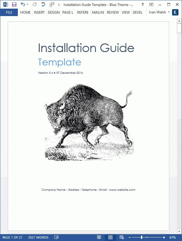 installation guide template word