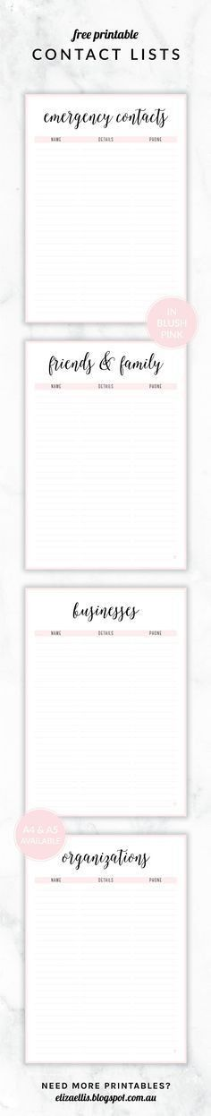 Free Printable Contact List Never lose contact info again with ...