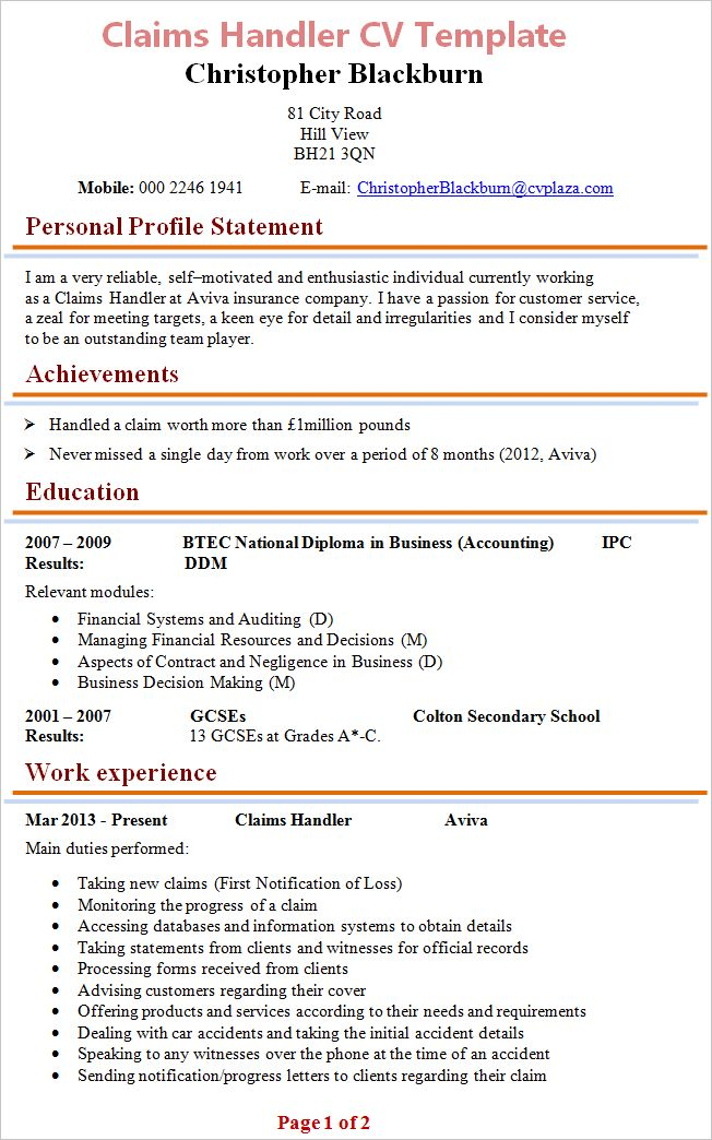 Claims Handler CV Template + Tips and Download – CV Plaza