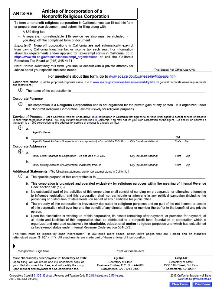 Free California Articles of Incorporation of a Nonprofit Religious ...
