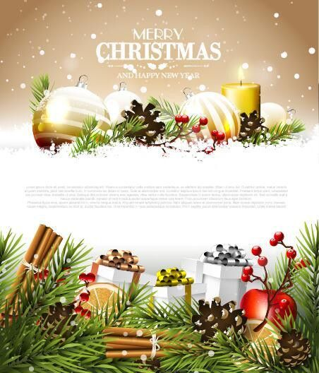 Modern christmas poster template with decor baubles vector ...