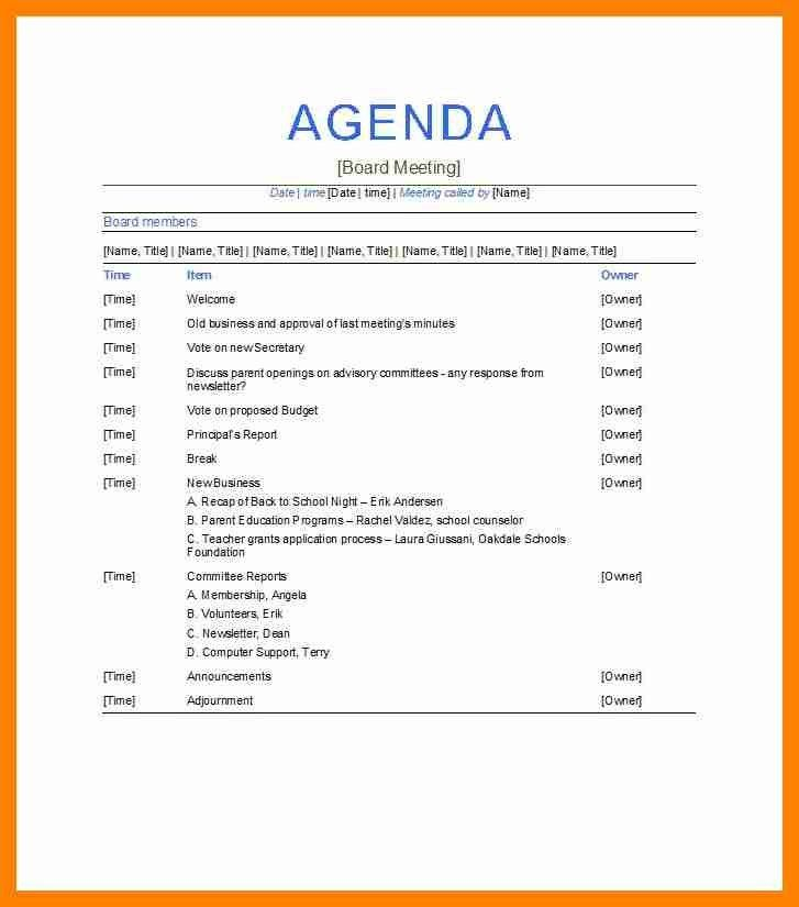 Board Meeting Agenda Samples. Sample Board Of Directors Meeting ...
