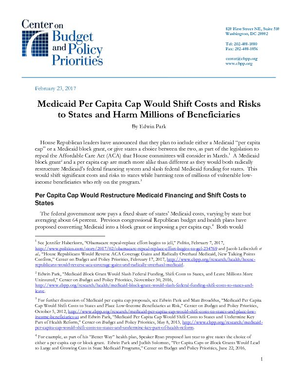 Medicaid Per Capita Cap Would Shift Costs and Risks to States and ...