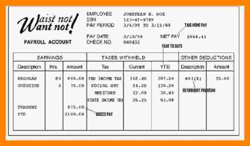 Payroll Pay Stub Template [Template.billybullock.us ]