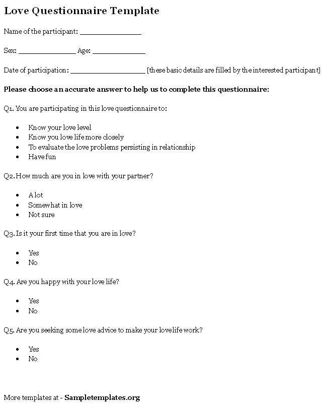 Investment Questionnaire Template Sample Templates ...