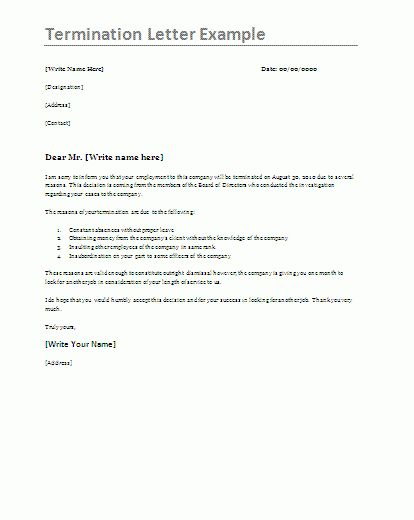 Job Termination Letter Template | Formsword: Word Templates ...