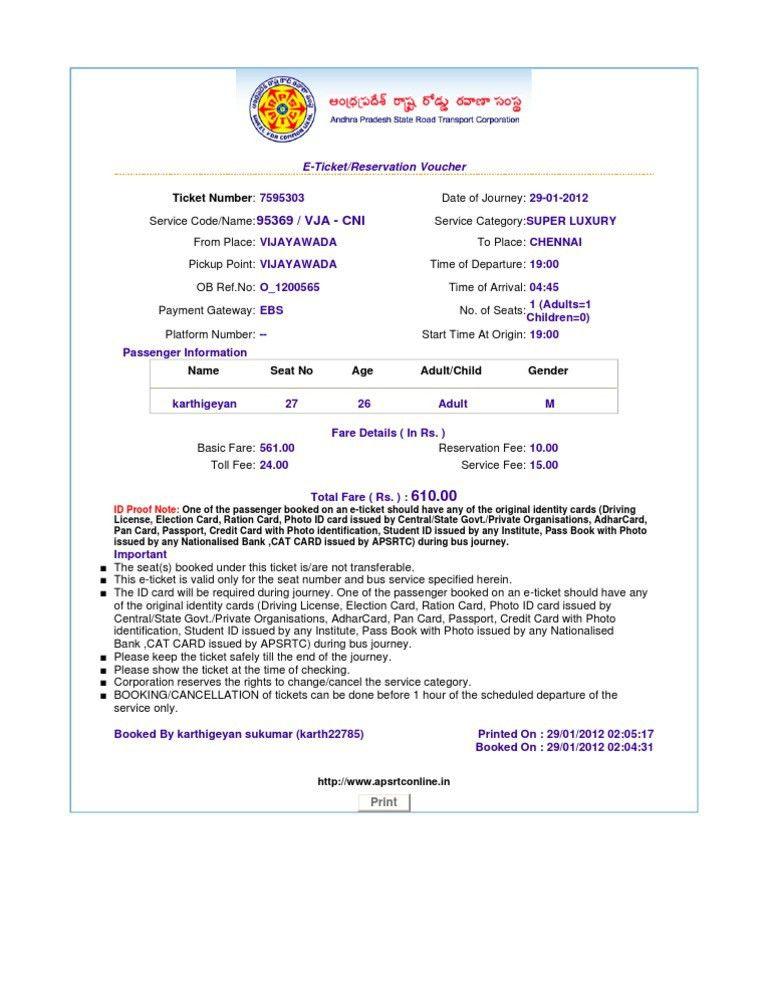 Http Www.apsrtconline.in Print Ticket