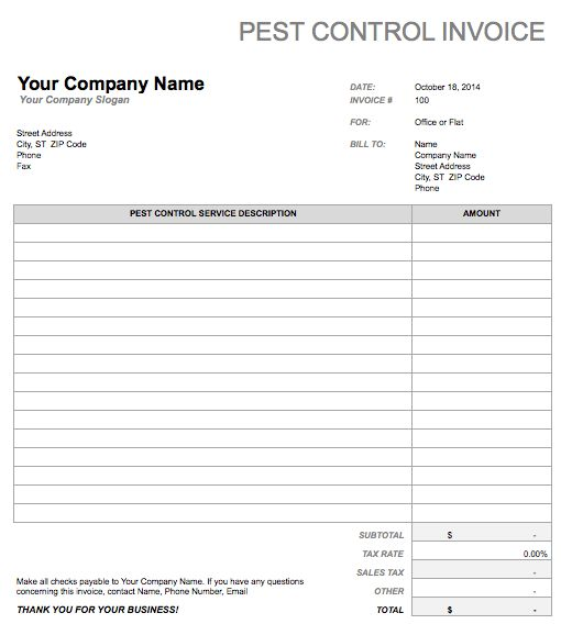 Printable Pest Control Invoice | Free Invoice Templates