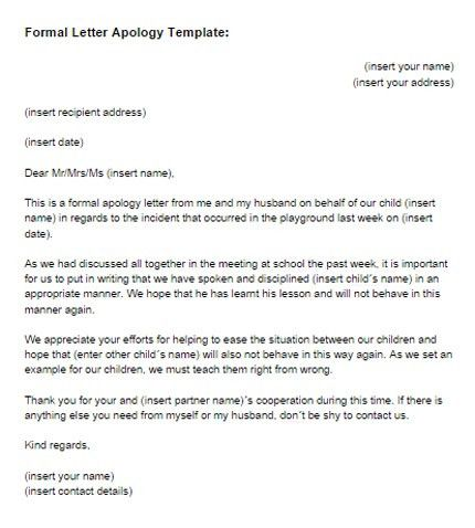 Formal Letter Apology Template | Just Letter Templates