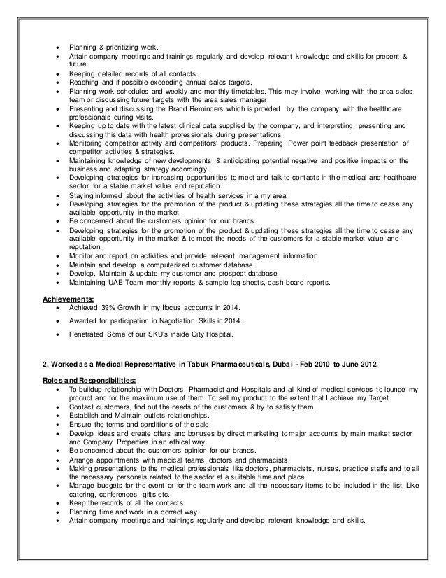 medical rep resume medical representative resumethanavee2