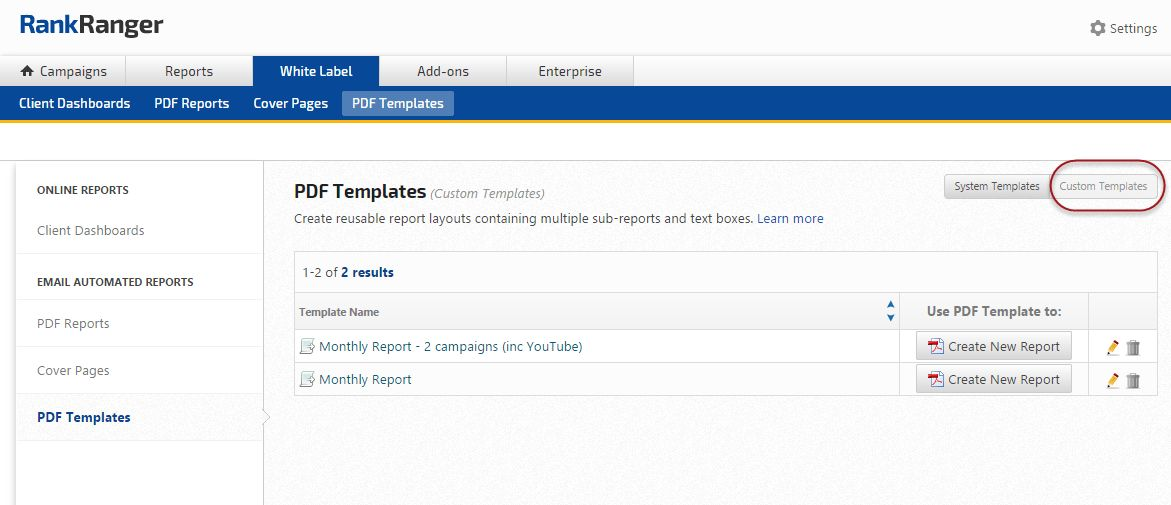 SEO & Marketing Report PDF System Templates | Rank Ranger