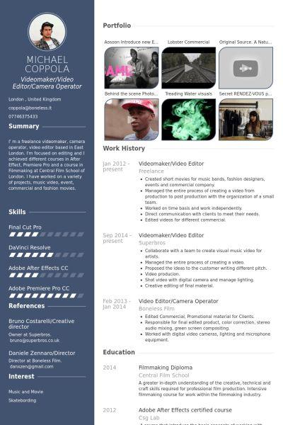 videomaker/video editor Resume Example | Short Films | Pinterest ...