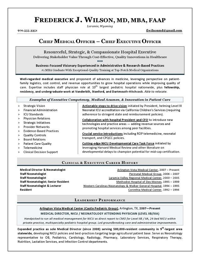 Chief Medical Officer Sample Resume - Executive resume writer for ...