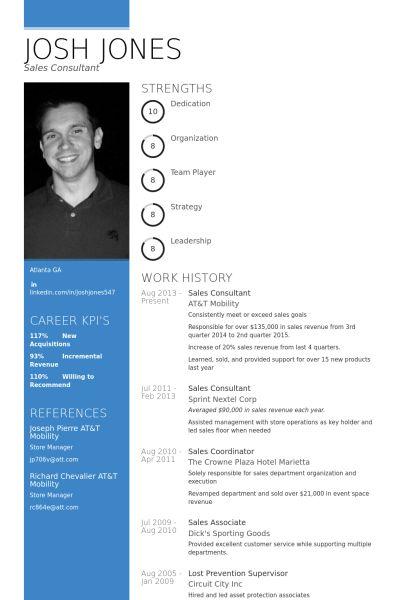 Sales Consultant CV Örneği - VisualCV Özgeçmiş Örnekleri Veritabanı