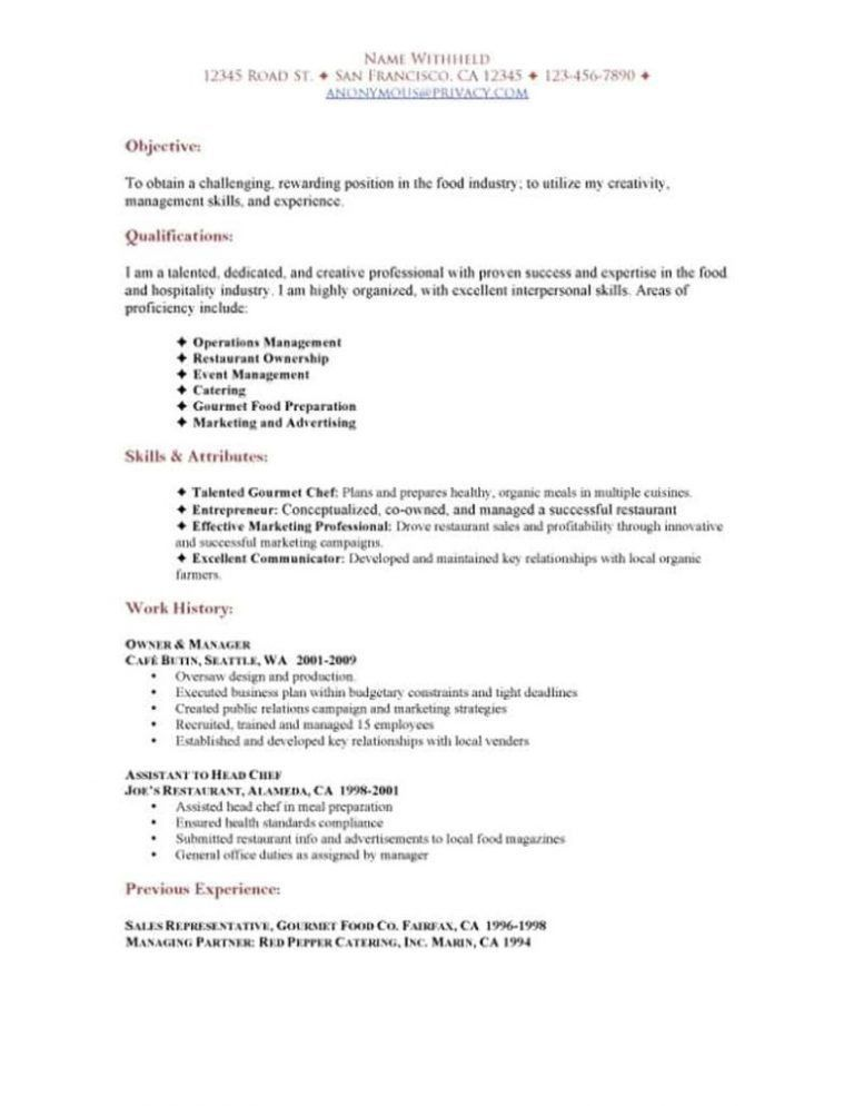 Pleasant Restaurant Resume Templates 3 Manager ...