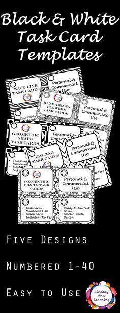 Task Card & Flash Card Templates - Commercial use OK | Cards, Math ...