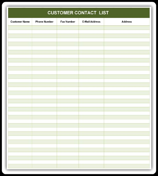 Customer Contact List | Excel & Word Templates